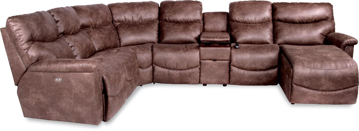 La Z Boy James Six Piece Reclining Sectional With Las Chaise Conlin S Furniture Sofas