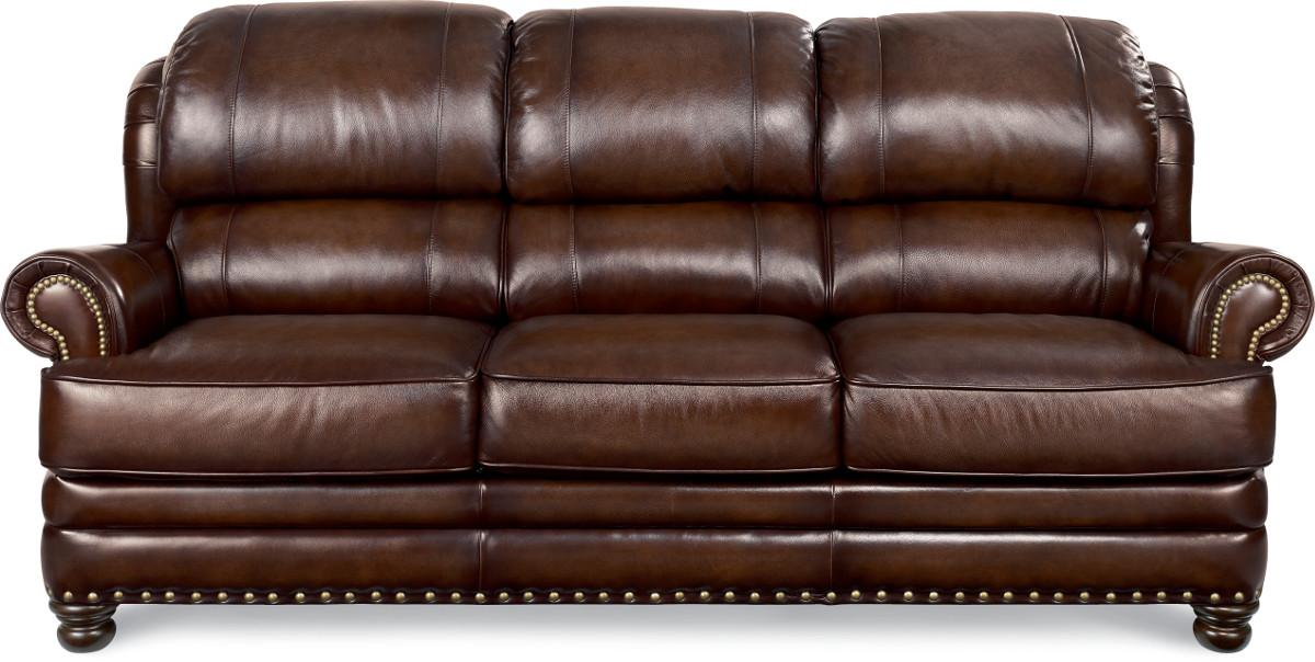 la z boy jamison traditional leather sofa with turned arms and nail head trim runes furniture sofas southwest minnesota furniture store. Interior Design Ideas. Home Design Ideas