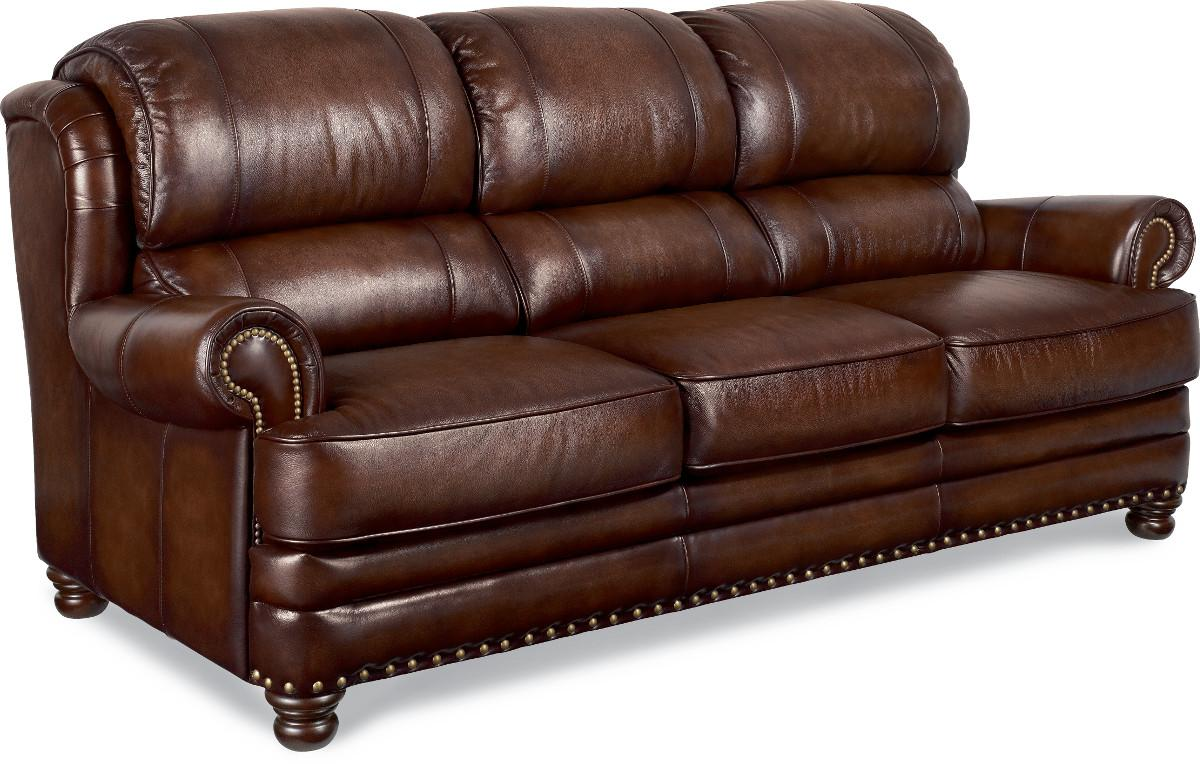 La Z Boy Jamison Traditional Leather Sofa With Turned Arms