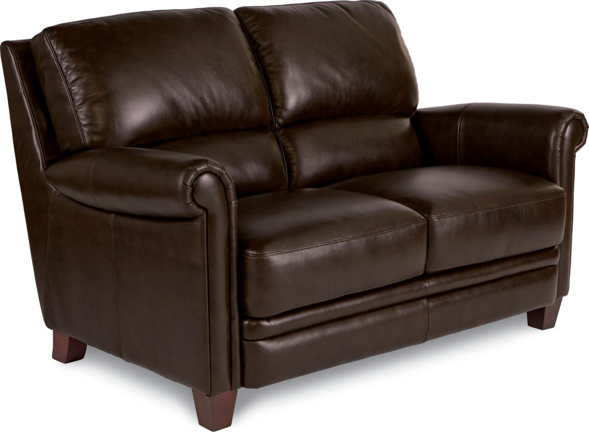 Julius Leather Loveseat With Bustle Back And Rolled Arms By La Z Boy Wolf Furniture