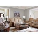 La-Z-Boy Kirkwood Three Piece Reclining Loveseat with Cupholder Storage Console
