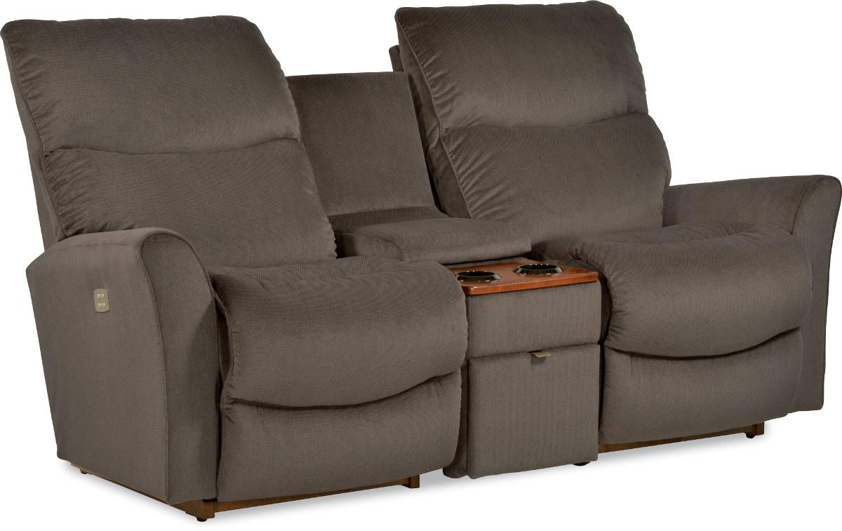 Rowan three piece contemporary power reclining loveseat with storage and cupholder console by la Storage loveseat