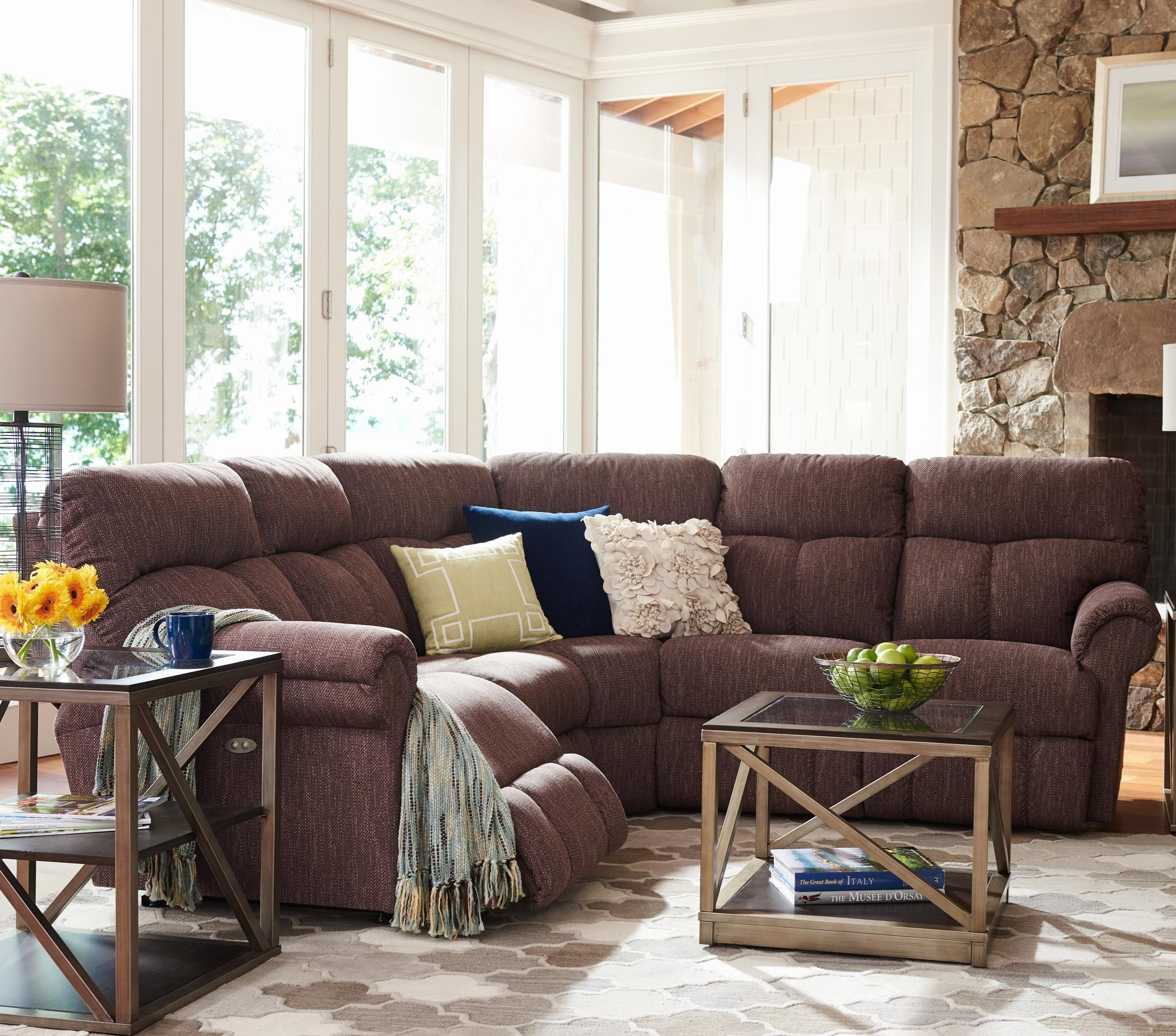 Sectional Sofas With Recliners: La-Z-Boy Sheldon Casual Three Piece Power Reclining