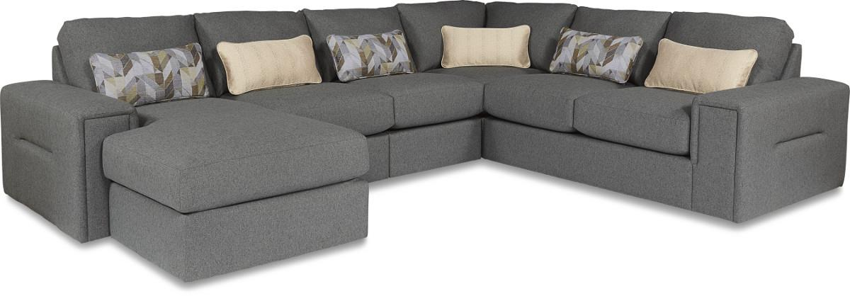 La-Z-Boy Structure Five Piece Modern Sectional Sofa with Architectural Lines and LAF Chaise ...