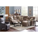 La-Z-Boy Trouper Five Piece Reclining Sofa with Left Sitting Tilt-Back Chaise and Cupholder Storage Console