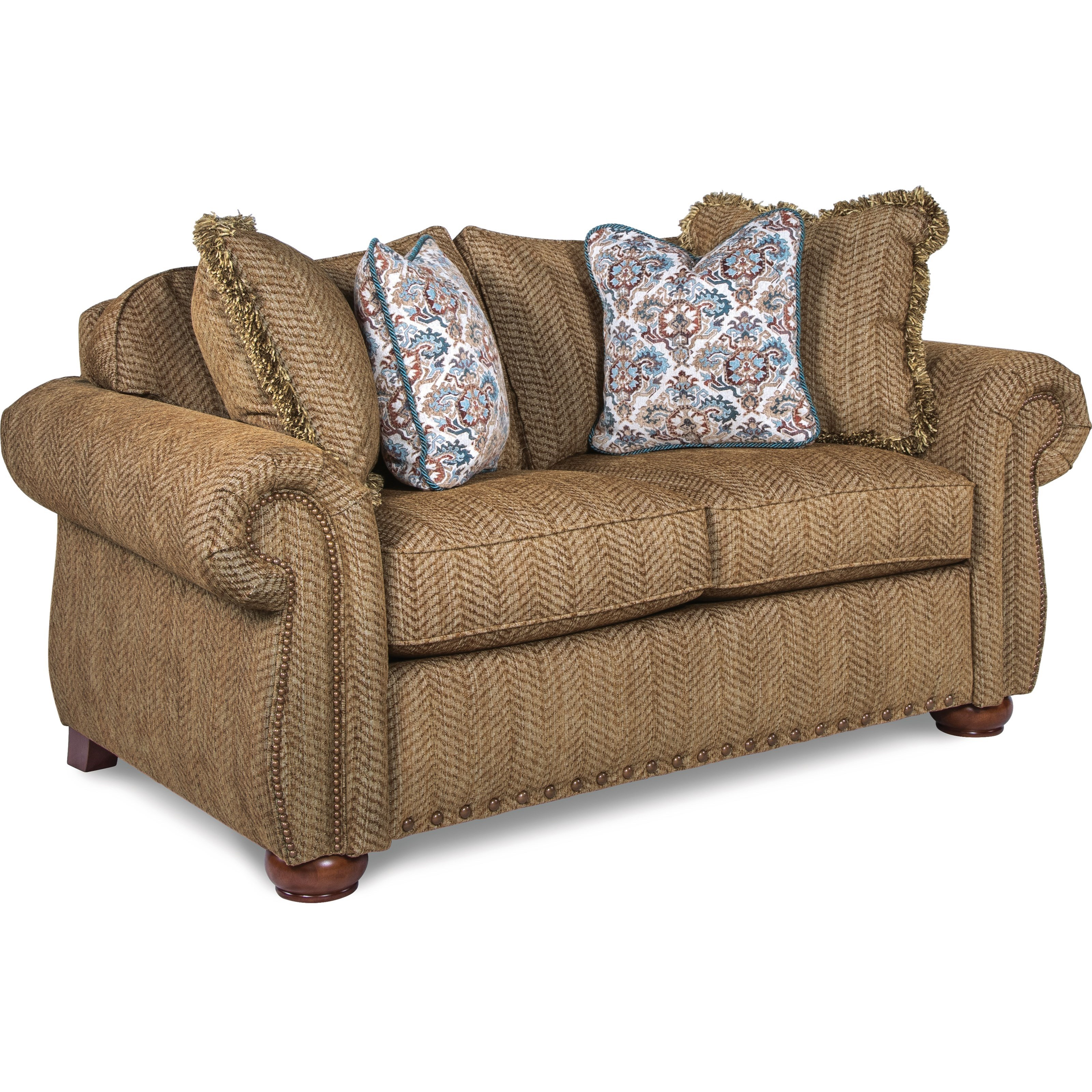 La Z Boy Wales Traditional Loveseat With Rolled Arms And Two Sizes Of Nailheads Bennett 39 S Home