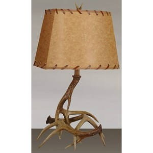 Lamps Per Se Lamps Polyresin Antler Table Lamp with Antler Fini
