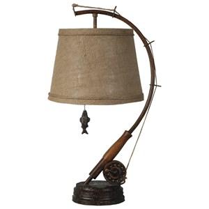 Lamps Per Se Lamps Polyresin Fishing Rod & Reel Table Lamp