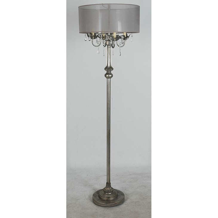 Lamps Per Se Lamps Polyresin Floor Lamp Antique Silver Finish - Item Number: LPS-143