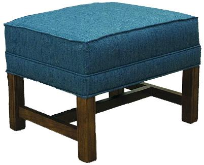 Lancer 1414 Ottoman with Oak Chippendale Base - Item Number: 1424