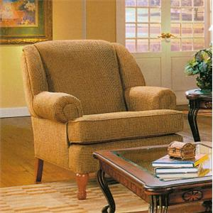 Lancer 1700 Upholstered Chair with Round Cottage Style Oak Legs