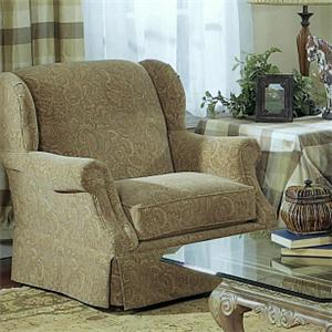 5120 Traditional Wing Chair with Tight Back and Skirted Base by Lancer