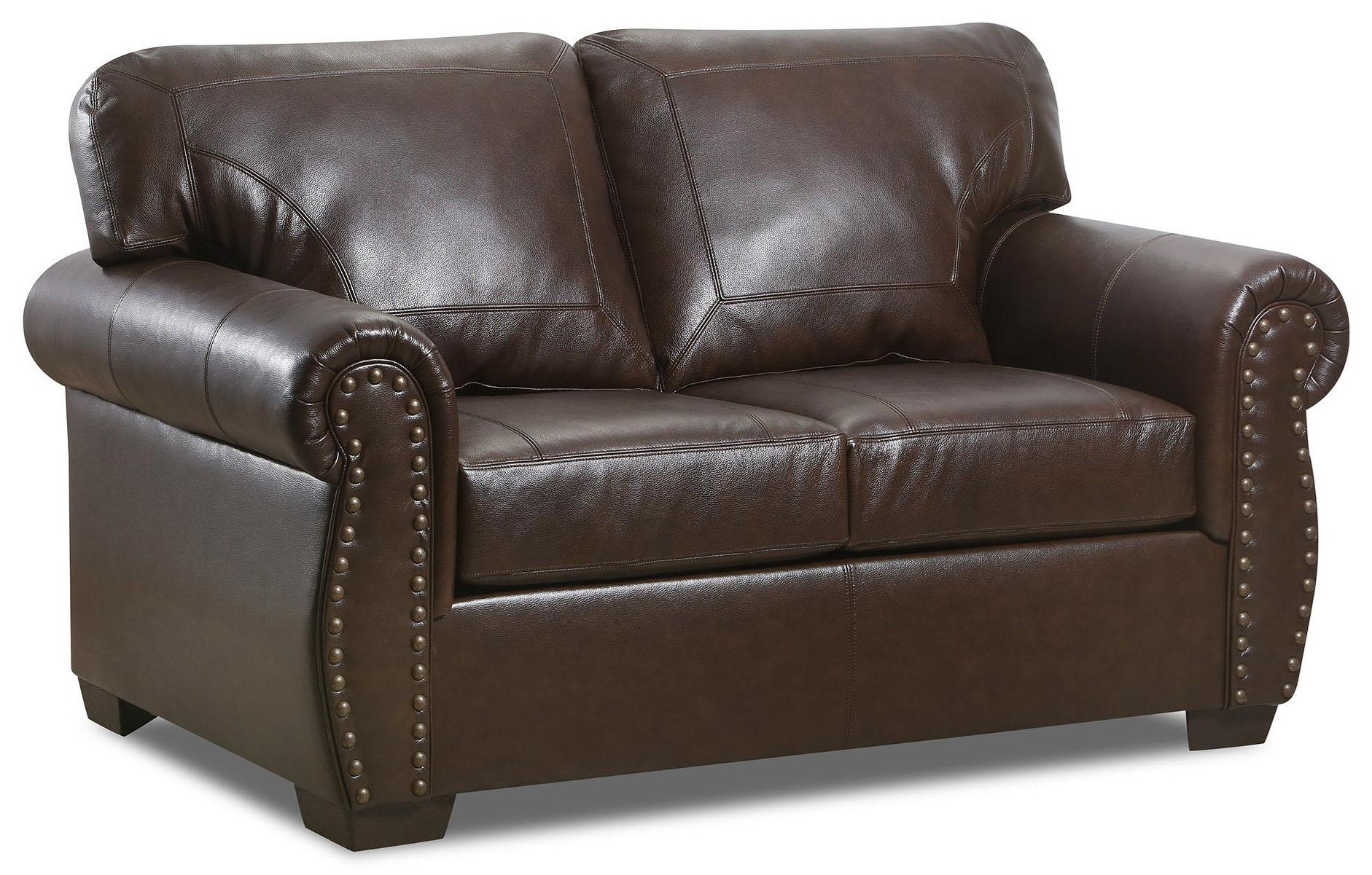 2075 Leather Nail Head Loveseat by Lane at Furniture Fair - North Carolina