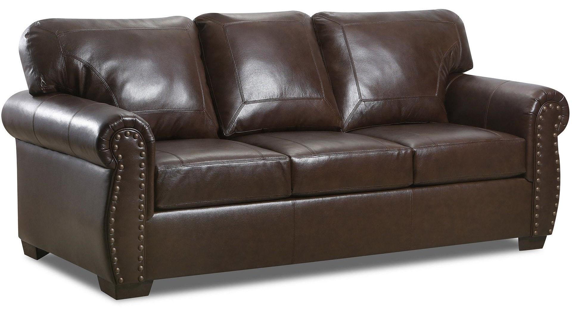 2075 Leather Nail Head Sofa by Lane at Furniture Fair - North Carolina