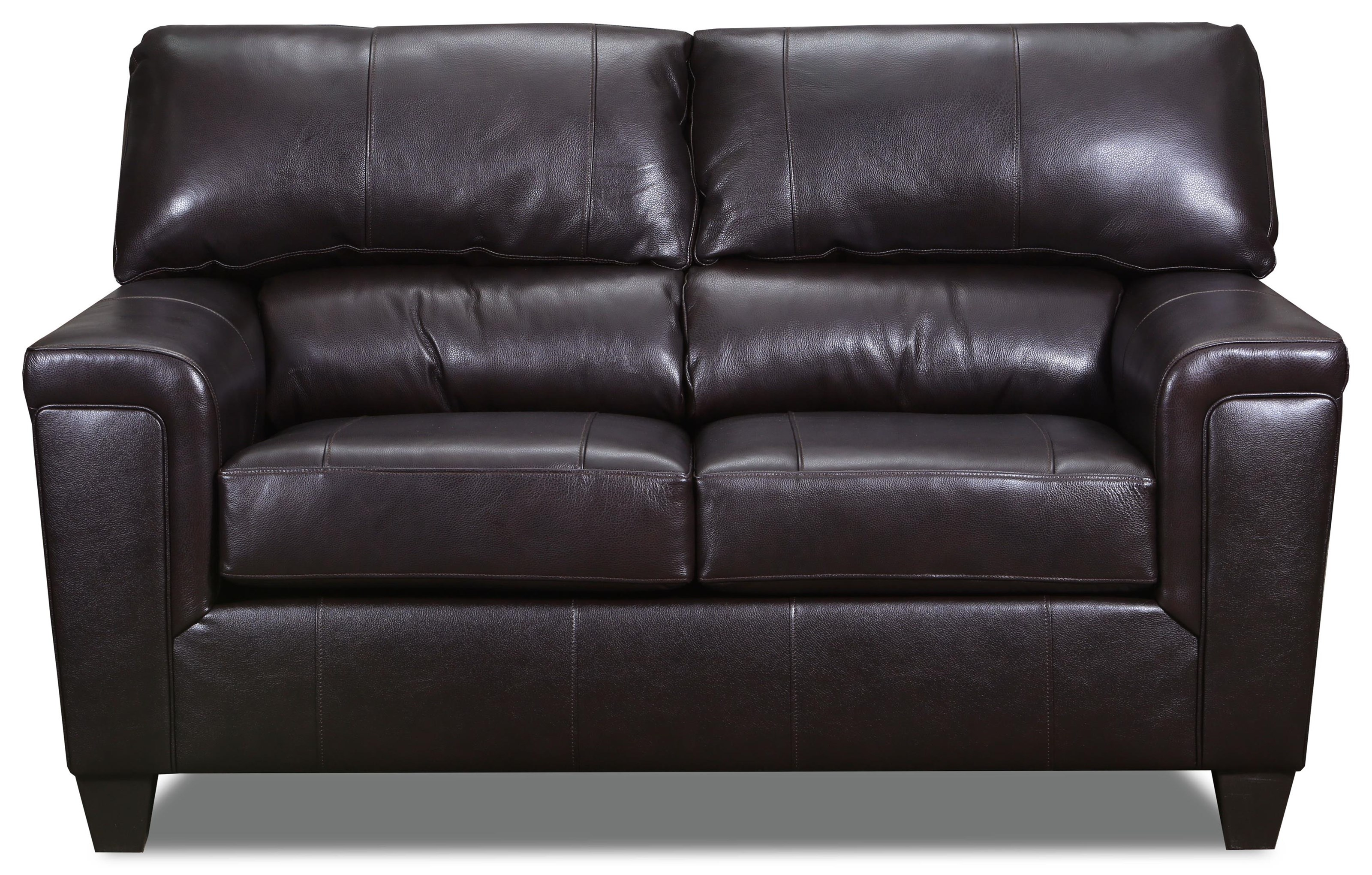 Brown Bark Leather Loveseat
