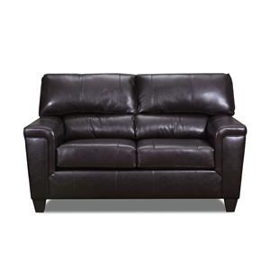 Brown Bark Leather Loveseat