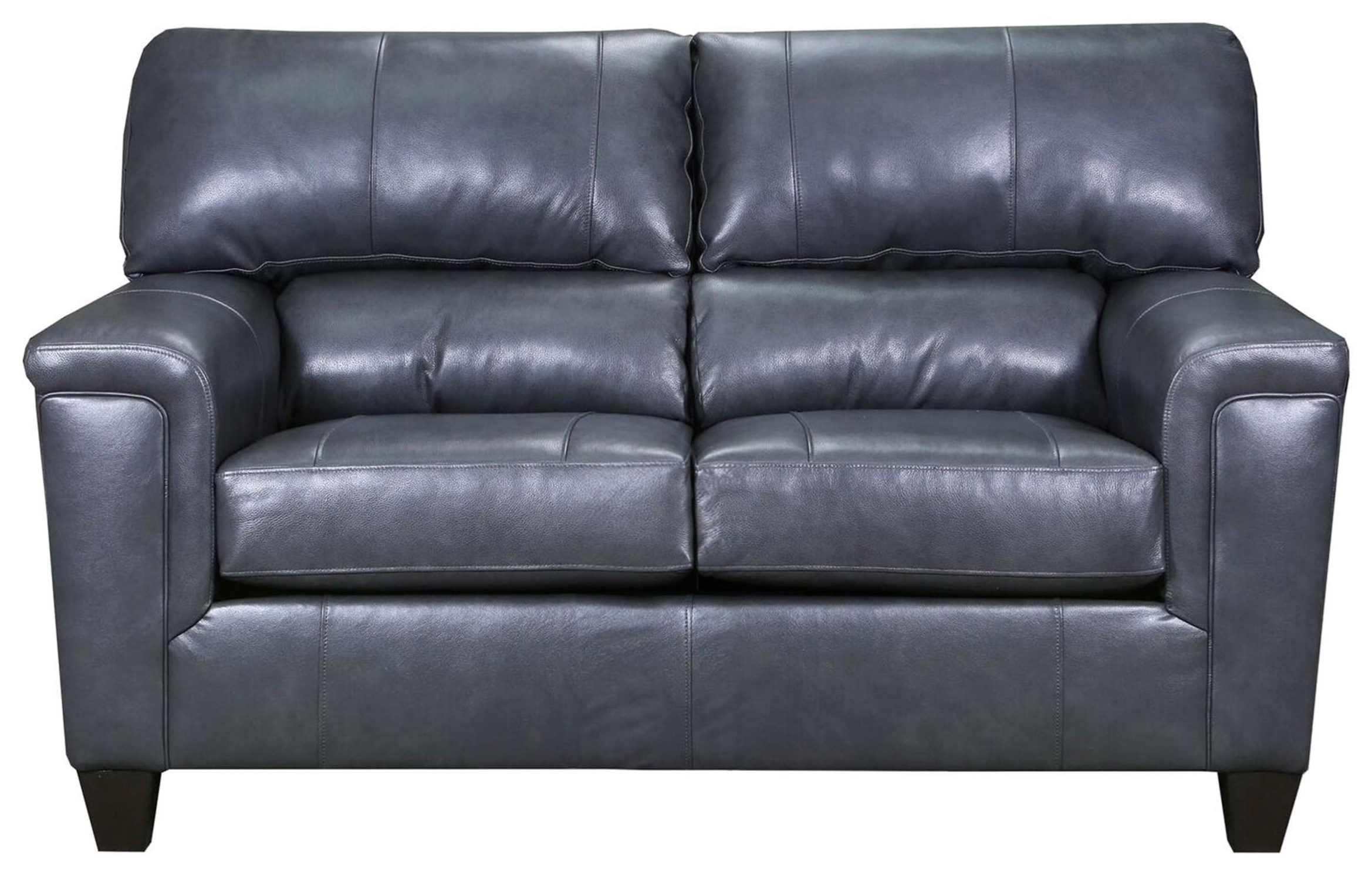 Gray Fog Leather Loveseat