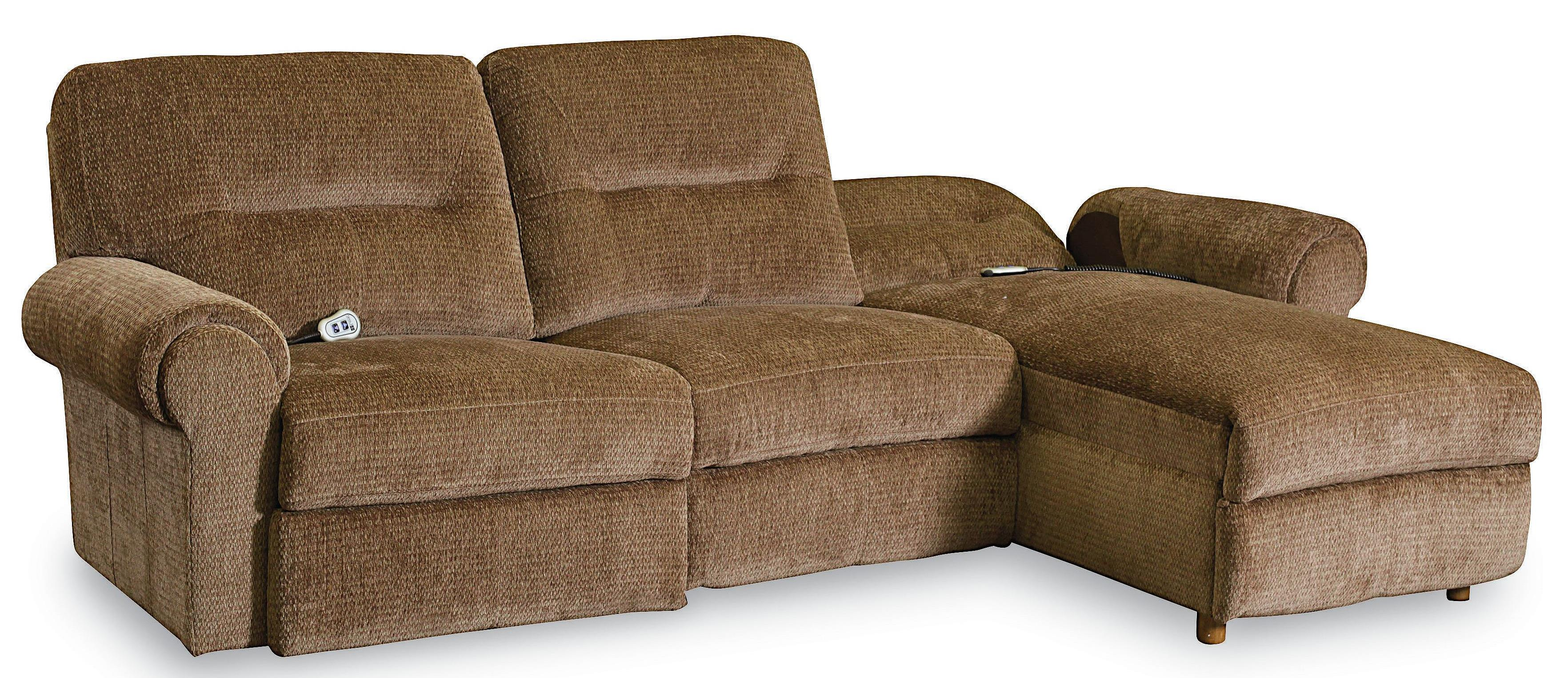 Lane Brandon Casual 3 Piece Reclining Sectional With Power Chaise Hudson 39 S Furniture