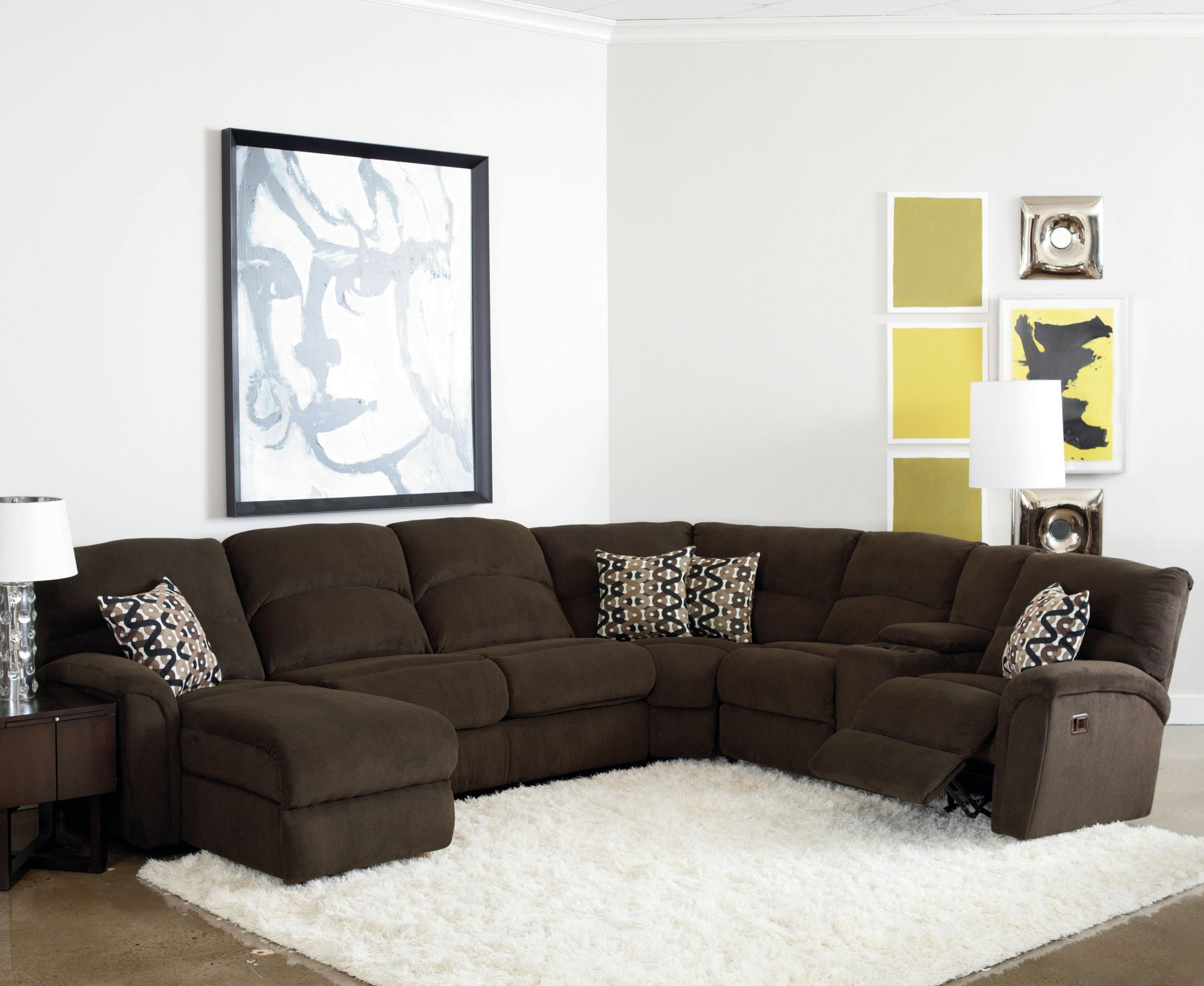 Grand Torino Casual Four Piece Sectional Sofa w/ Full Sleeper and Drink  Console by Lane at Rune\'s Furniture