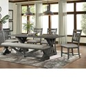 Lane Old Forge  6-Piece Table, Chair, and Bench Set - Item Number: 5062-59+4x52+51