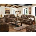 Lane Home Furnishings Stevens Leather Sofa and Loveseat - Item Number: 2037LCHAPS + SCHAPS