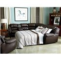 Lane Summerlin Traditional Reclining Sectional Sofa with Sleeper and Nail Head Trim Accents - 214-67+04+88