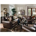 Lane Benson  Stationary Sofa with Nailhead Trim - Shown with Stationary Loveseat