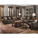 Lane Benson  Stationary Sofa with Nailhead Trim - Shown with Stationary Loveseat and Recliner