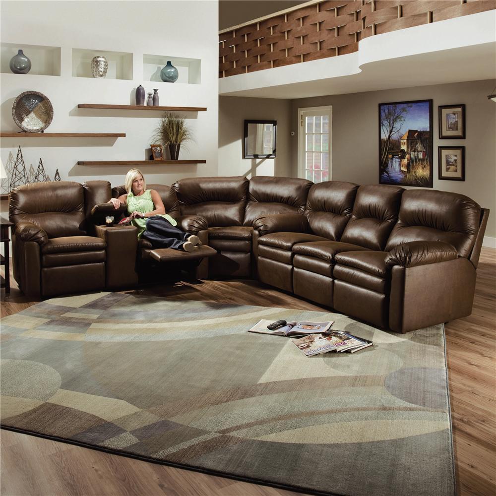Lane Touchdown Leather 3 Piece Sectional Sofa Becker