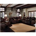 Lane Touchdown Leather Wall Saver Recliner - 29297 - Shown With Double Reclining Console Sofa, and Double Reclining Sofa