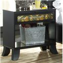 Lang Black Earth 1 Drawer Open Night Stand with Tattoo Art Accents - BLA-126-ANA