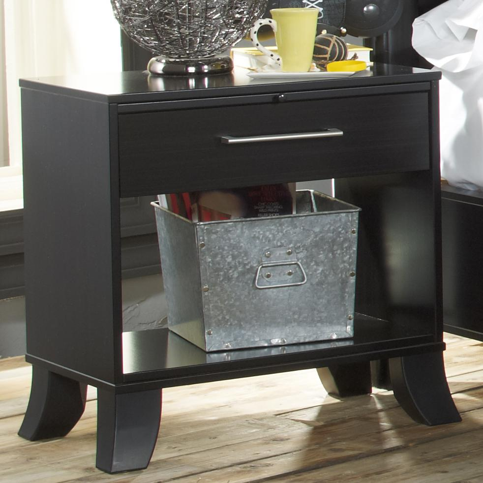 Black Earth 1 Drawer Open Night Stand With Tattoo Art Accents By Lang