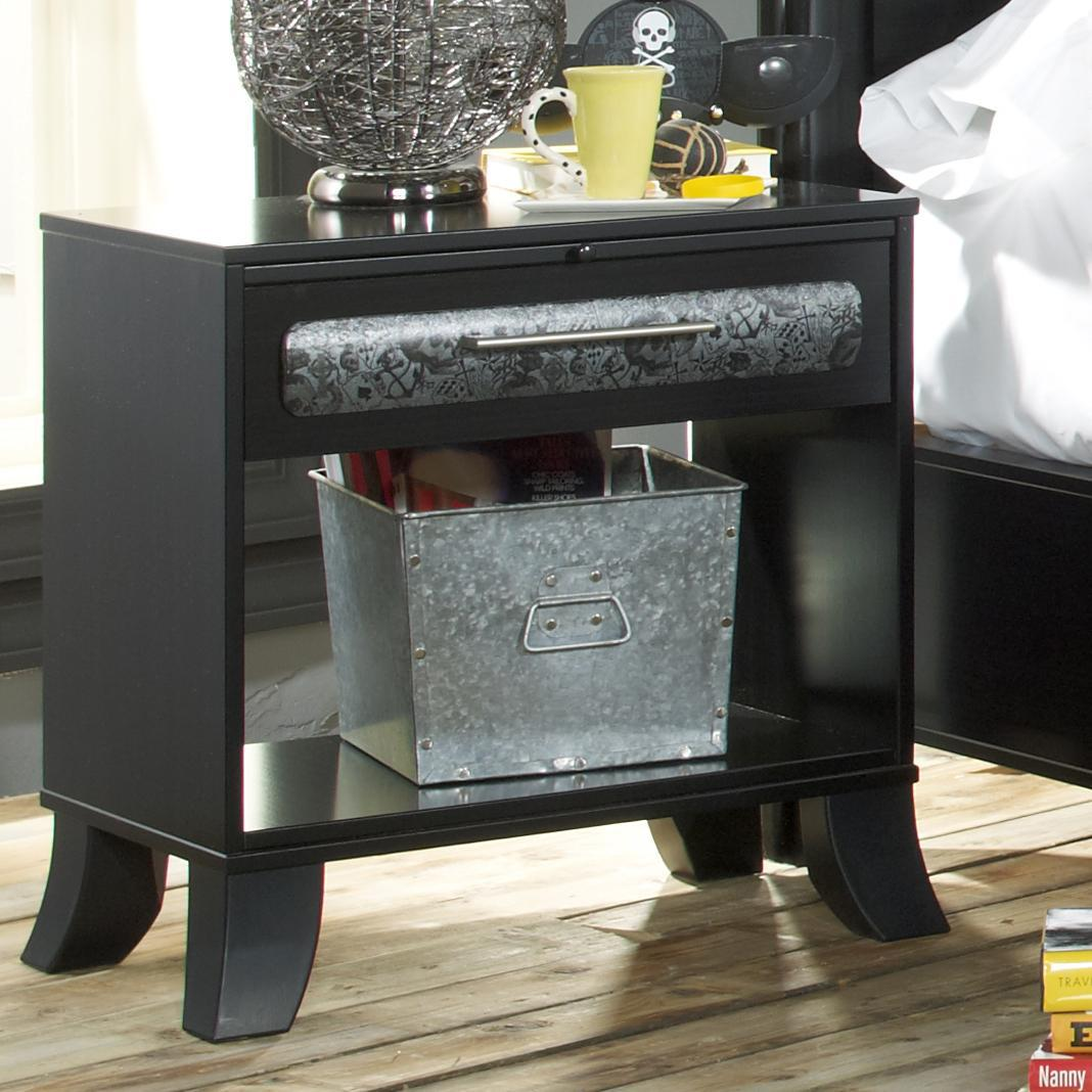 Lang Black Earth 1 Drawer Open Night Stand With Tattoo Art Accents   AHFA    Night Stand Dealer Locator