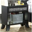 Lang Black Earth 1 Drawer Open Night Stand with Tattoo Art Accents - BLA-126-ZEB