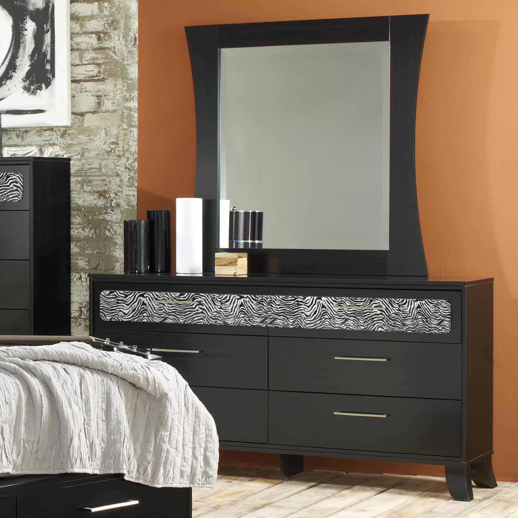 Lang Black Earth 6 Drawer Dresser U0026 Black Framed Mirror Set   AHFA    Dresser U0026 Mirror Dealer Locator