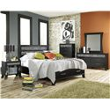 Lang Black Earth Full Jupiter Black Headboard & Footboard Bed with Storage Drawers - BLA-BA100-F-ZEB - Shown with Nightstand, Chest, Dresser, Mirror