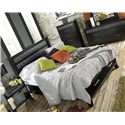 Lang Black Earth King Jupiter Black Headboard & Footboard Bed with Storage Drawers - BLA-BA100-K-TAT - Shown with Nightstand, Chest, Dresser & Mirror