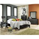 Lang Black Earth Queen Jupiter Black Headboard & Footboard Bed with Storage Drawers - BLA-BA100-Q-TAT - Shown with Nightstand, Chest, Dresser & Mirror