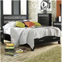 Lang Black Earth Queen Jupiter Black Headboard & Footboard Bed with Storage Drawers - BLA-BA100-Q-ZEB - Bed Shown May Not Represent Exact Size Indicated
