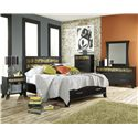 Lang Black Earth Twin Jupiter Black Headboard & Footboard Bed with Storage Drawers - BLA-BA100-T-ANA - Shown with Nightstand, Chest, Dresser & Mirror