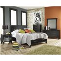 Lang Black Earth Twin Jupiter Black Headboard & Footboard Bed with Storage Drawers - BLA-BA100-T - Shown with Nightstand, Chest, Dresser & Mirror