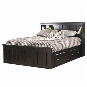 Gentil Lang Columbia Full Bookcase Captains Bed