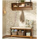 Lang Hartland Entry Bench - HAR-14-048 - Shown with Coordinating Wall Mounted Shelf. Baskets and Cushion Shown are Not Included.