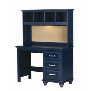 4 Drawer Desk and Hutch with Light