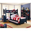 Lang Madison 4 Drawer Desk and Hutch with Light - MAD-07-445+07-HT4531 - Shown with Coordinating Bookshelf, Trundle Bed, and Bunk Bed
