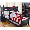 Lang Madison Twin Over Twin Bunk Bed Assembly - MAD-07-BBA70 - Shown with Two Bookshelves, Twin Poster with Trundle, and Desk