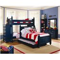 Lang Madison Twin Over Twin Bunk Bed Assembly - MAD-07-BBA70 - Shown with Chest, Twin Poster with Trundle, Bookshelf, and Dresser with Mirror Combination