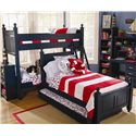 Lang Madison Twin Trundle Bed - MAD-07-TRDL-T - Shown Under Twin Poster with Bunk Bed in Background