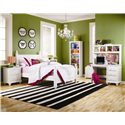 Lang Madison 4 Drawer Desk with Pencil Tray - Shown with Hutch, 73 Inch Bookshelf, Poster Bed, and Night Stand