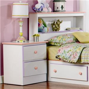 2 Drawer Nightstand with Roller Glides
